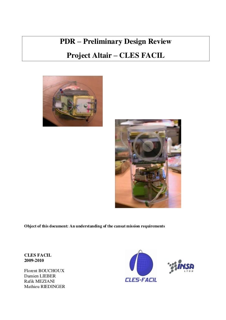 PDR – Preliminary Design Review                       Project Altair – CLES FACILObject of this document: An understanding...
