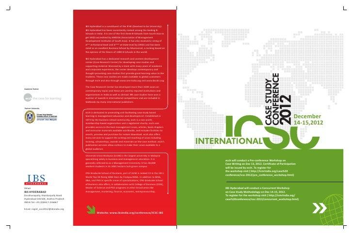 International case study conference – 2012 brochure