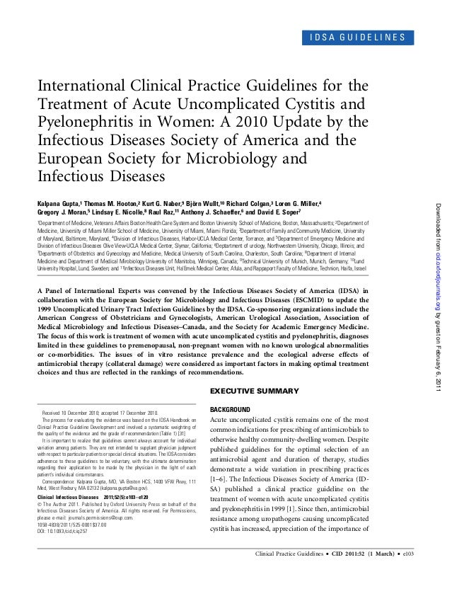 IDSA GUIDELINESInternational Clinical Practice Guidelines for theTreatment of Acute Uncomplicated Cystitis andPyelonephrit...