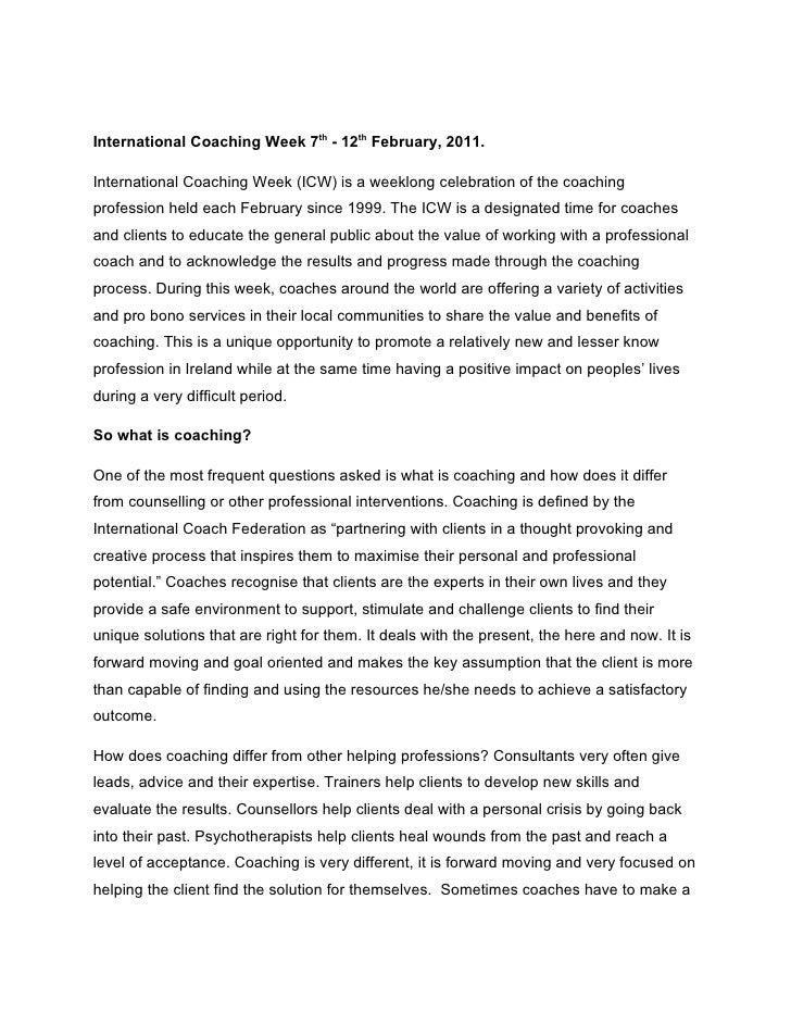 International Coaching Week 7th - 12th February, 2011.International Coaching Week (ICW) is a weeklong celebration of the c...