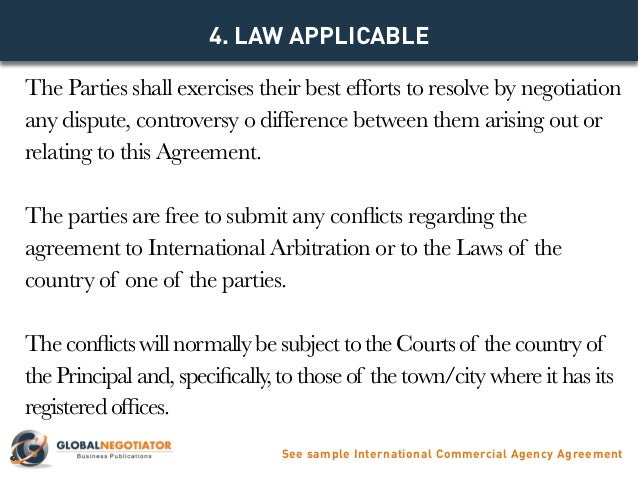 INTERNATIONAL COMMERCIAL AGENCY AGREEMENT TEMPLATE – Agent Agreement Template Free