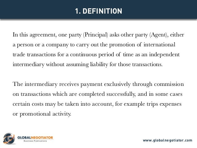 INTERNATIONAL COMMERCIAL AGENCY AGREEMENT TEMPLATE – Trading Agreement Template