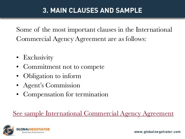 INTERNATIONAL COMMERCIAL AGENCY AGREEMENT TEMPLATE – Agent Contract Agreement