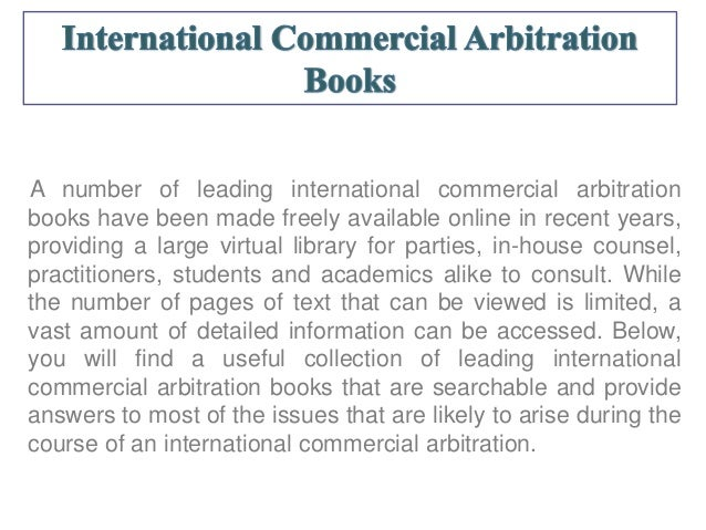 Online International Arbitration Books