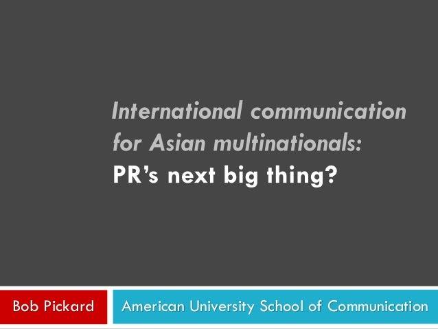 American University School of CommunicationBob Pickard