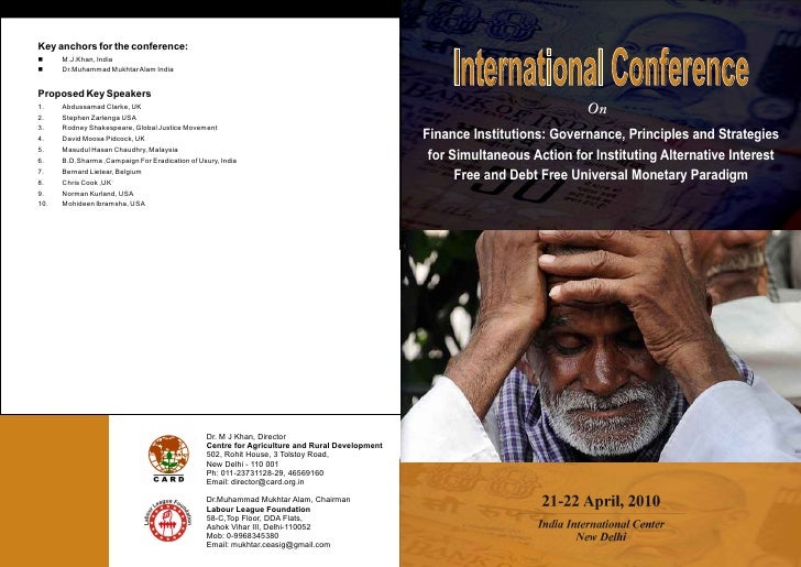 Brochure for International Conference Calling for Acceptance of Inter-faith common prohibition against Usury