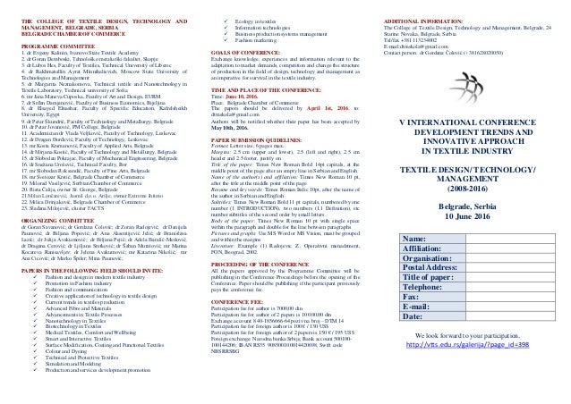 THE COLLEGE OF TEXTILE DESIGN, TECHNOLOGY AND MANAGEMENT, BELGRADE, SERBIA BELGRADE CHAMBER OF COMMERCE PROGRAMME COMMITTE...