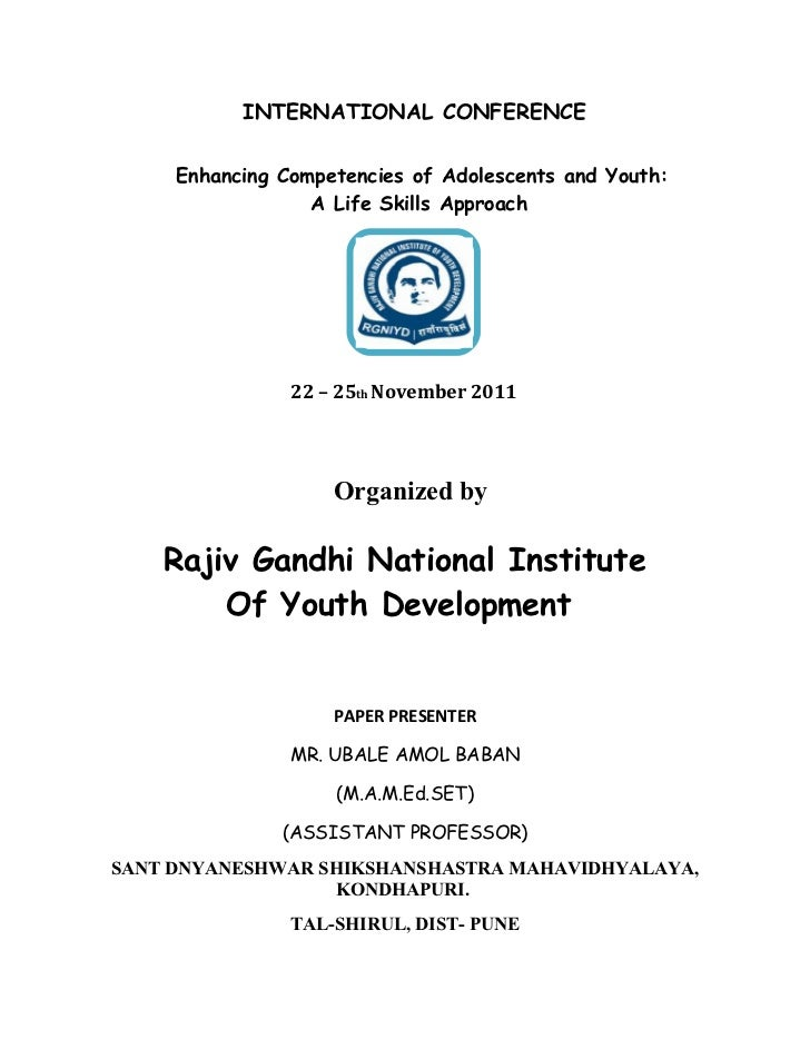 INTERNATIONAL CONFERENCE     Enhancing Competencies of Adolescents and Youth:                  A Life Skills Approach     ...