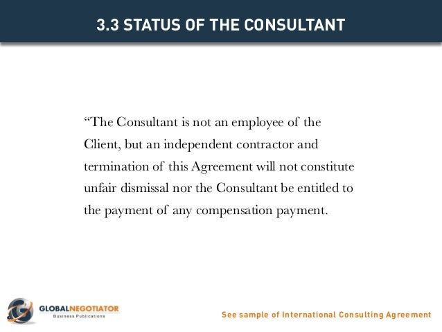 INTERNATIONAL CONSULTING AGREEMENT TEMPLATE – Independent Consulting Agreement