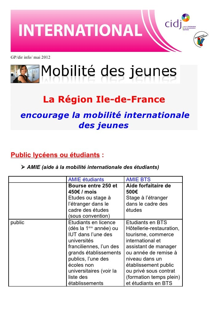 GP/dir info/ mai 2012                 La Région Ile-de-France     encourage la mobilité internationale                 des...