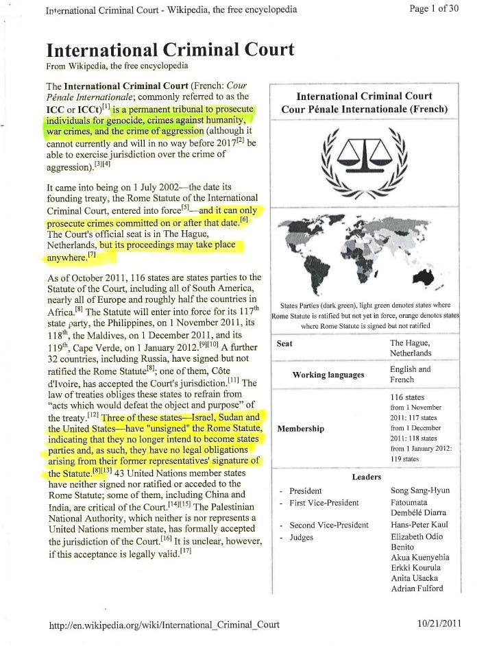 INTERNATIONAL CRIMINAL COURT (wikipedia info)