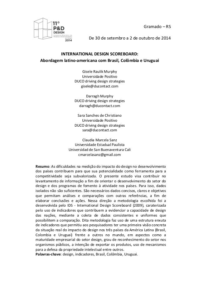 Gramado  –  RS   De  30  de  setembro  a  2  de  outubro  de  2014   INTERNATIONAL  DESIGN ...