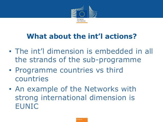 Culture What about the int'l actions? • The int'l dimension is embedded in all the strands of the sub-programme • Programm...