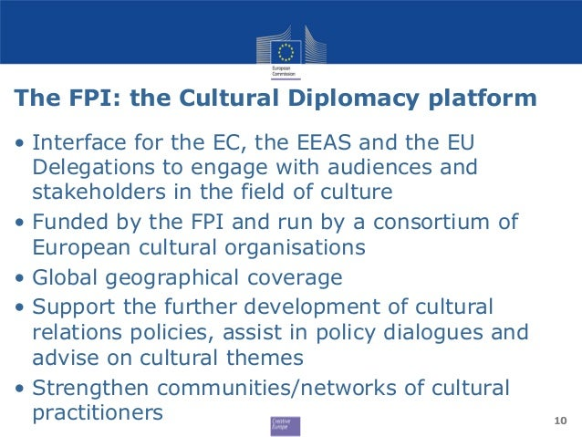 The FPI: the Cultural Diplomacy platform • Interface for the EC, the EEAS and the EU Delegations to engage with audiences ...