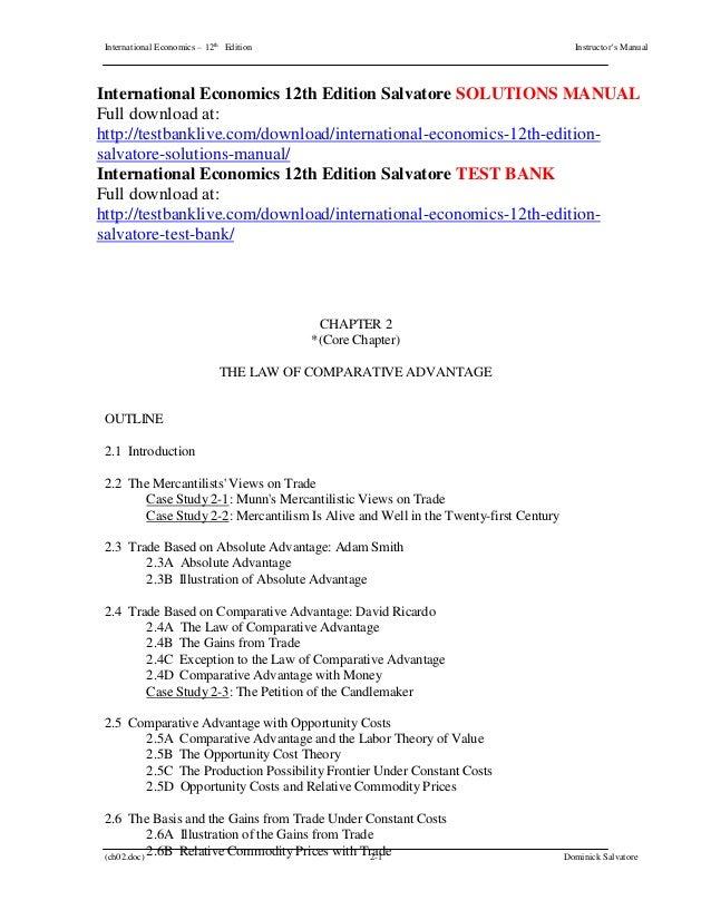international economics 12th edition salvatore solutions manual rh slideshare net Business Process Modeling modeling monetary economies solutions manual free download