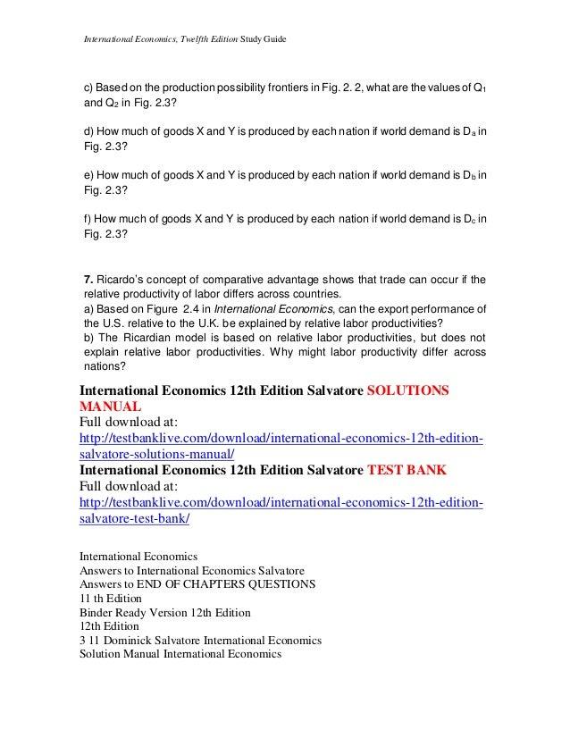 international economics 12th edition salvatore solutions manual rh slideshare net Economy of Solution Jeff Lunn Economic Solutions Inc