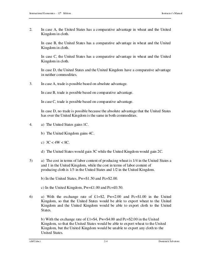 international economics 12th edition salvatore solutions manual rh slideshare net South West Economic Solutions Jeff Lunn Economic Solutions Inc