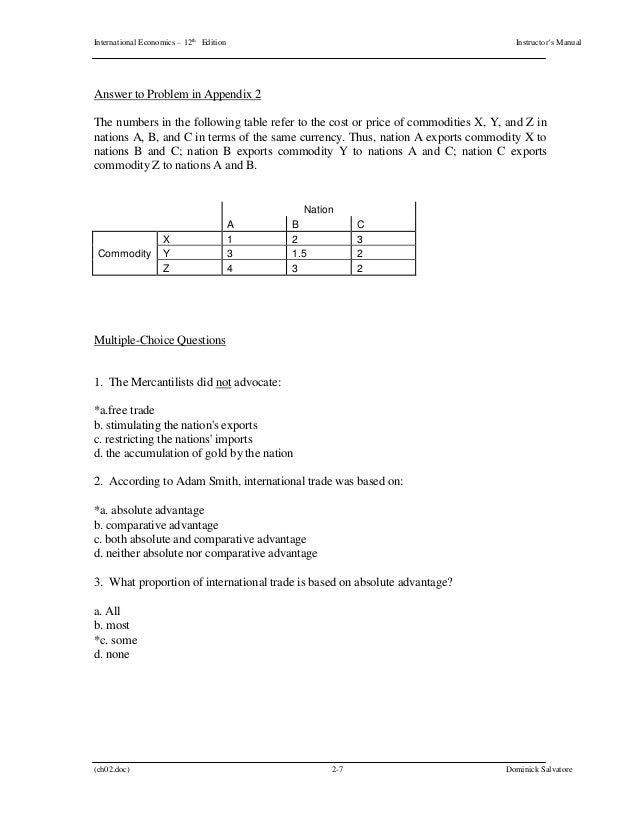 international economics 12th edition salvatore solutions manual rh slideshare net South West Economic Solutions Basic Solution