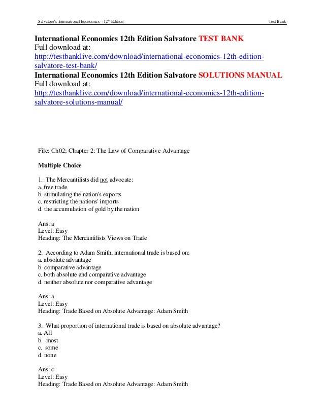 International economics 12th edition salvatore test bank