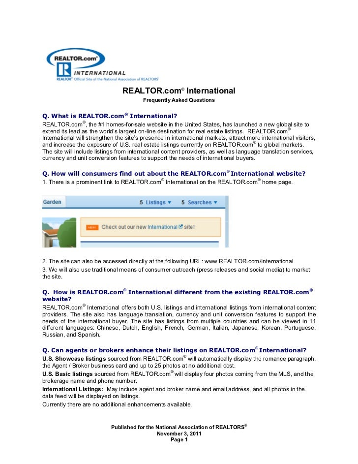 REALTOR.com® International                                         Frequently Asked QuestionsQ. What is REALTOR.com® Inter...
