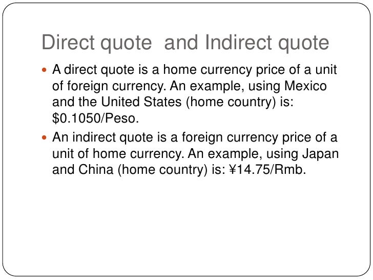 Direct quote and indirect quote in forex