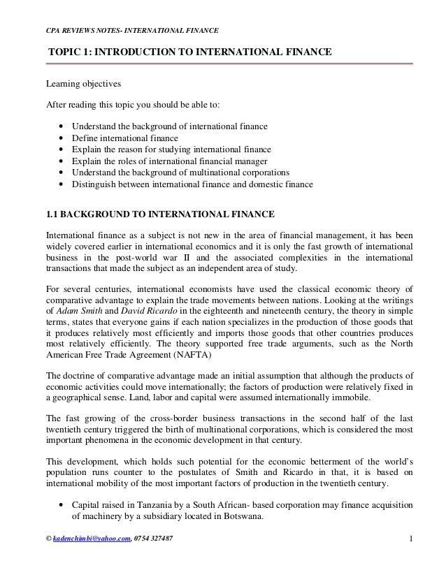 CPA REVIEWS NOTES- INTERNATIONAL FINANCE  © kadenchimbi@yahoo.com, 0754 327487  1  TOPIC 1: INTRODUCTION TO INTERNATIONAL ...