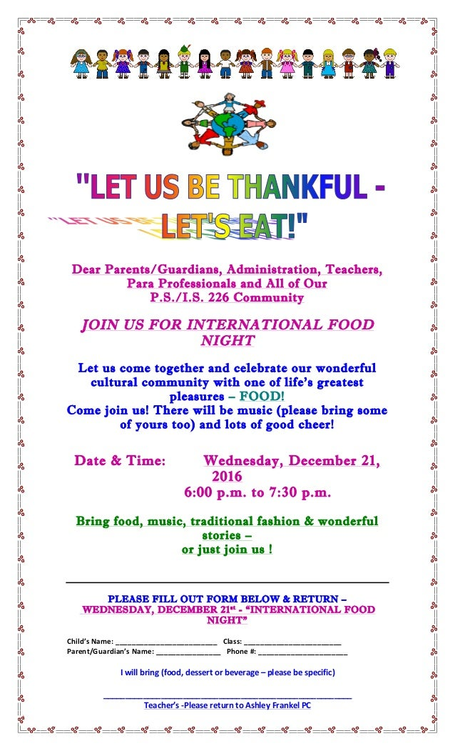 Dear Parents/Guardians, Administration, Teachers, Para Professionals and All of Our P.S./I.S. 226 Community JOIN US...