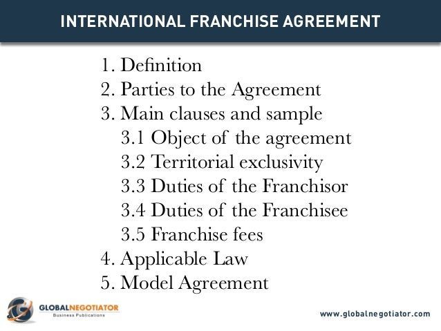 INTERNATIONAL FRANCHISE Agreement 1. Definition 2. Parties To The Agreement  3.