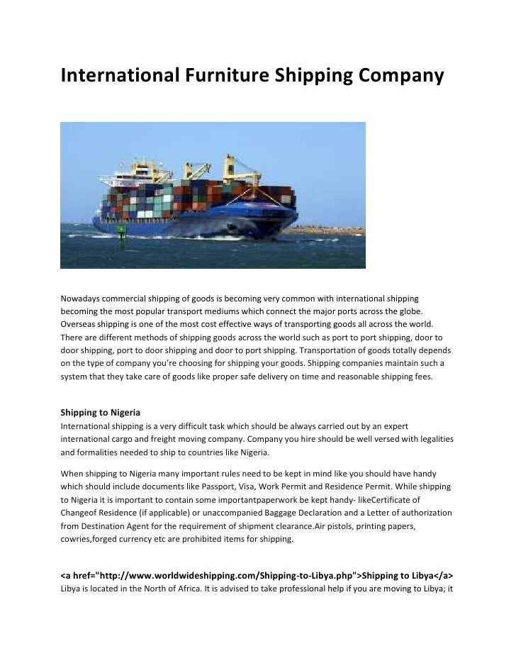 Merveilleux International Furniture Shipping CompanyNowadays Commercial Shipping Of  Goods Is Becoming Very Common With International S. ...