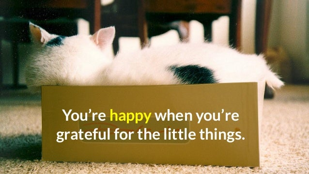 You're happy when you're grateful for the little things.