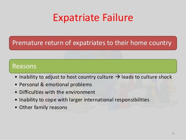 Expatriate Failure  15  Premature return of expatriates to their home country  Reasons  • Inability to adjust to host coun...