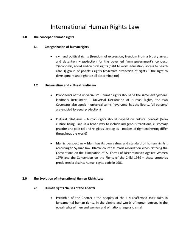 International Human Rights Law 1.0 The concept of human rights 1.1 Categorization of human rights  civil and political ri...