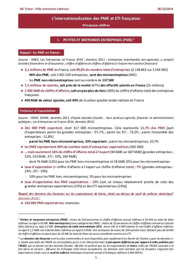 1 L'internationalisation des PME et ETI françaises Principaux chiffres I. PETITES ET MOYENNES ENTREPRISES (PME)1 Rappel : ...