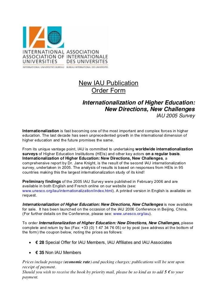 New IAU Publication                                   Order Form                                  Internationalization of ...