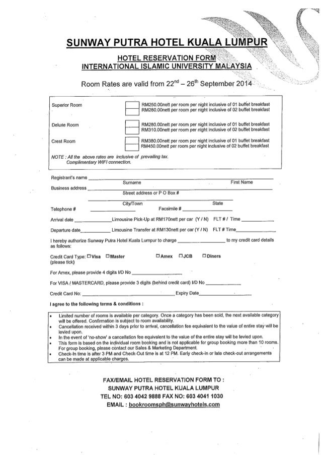 Hotel Reservation Form International Islamic University Malaysia