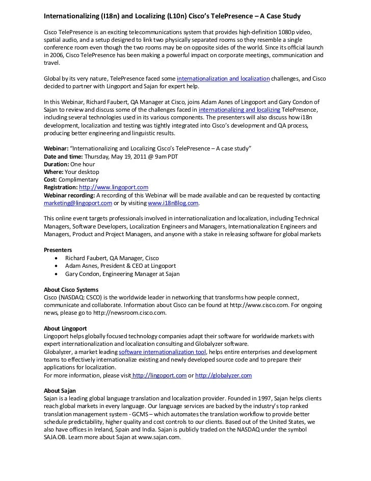 d963d161ae95 Case Study  Internationalization   Localization of Cisco Telepresence