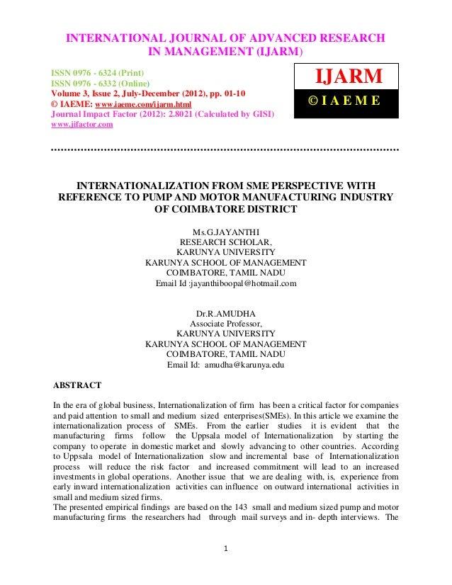INTERNATIONAL JOURNAL OF ADVANCED RESEARCHInternational Journal of Advanced Research in Management (IJARM), ISSN 0976 – 63...