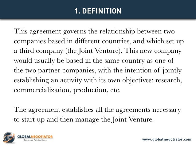 INTERNATIONAL JOINT VENTURE AGREEMENT TEMPLATE – Sample Joint Venture Agreement