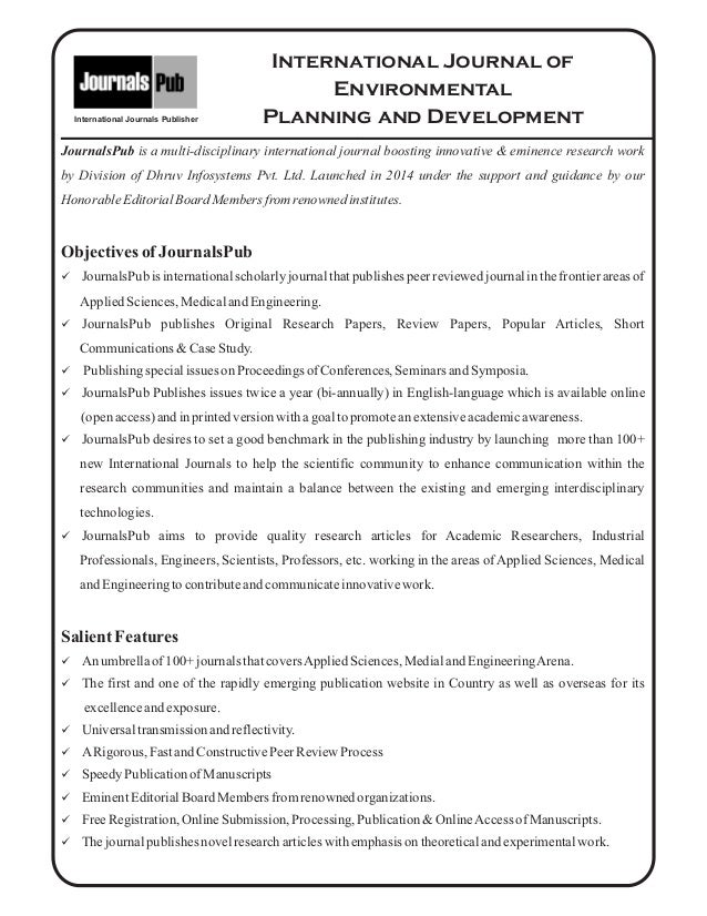 Letter Template Planning Permission.  2 International Journal of Environmental Planning and Development Vol