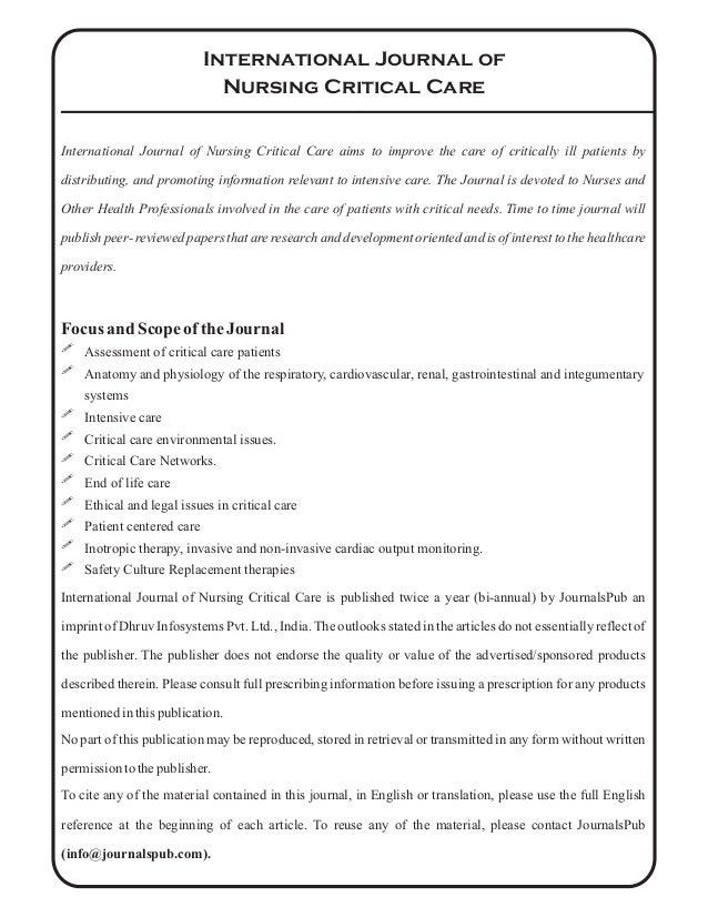 International Journal of Nursing Critical Care vol 2 issue 1