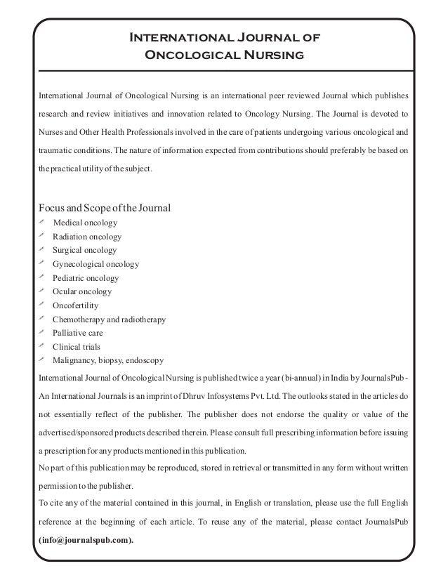 International Journal of Oncological Nursing vol 2 issue 1