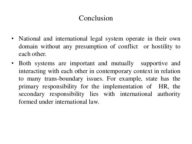 relationship between international law and domestic