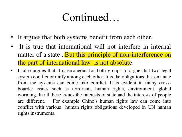 distinctions between international law and municipal law Relationship between municipal law and international law as to relationship between municipal law and international law there are many theories the most prominent one of which may be discussed as under: i dualistic theory: - according to the followers of this theory municipal law and international law are two separate, distinct and self.