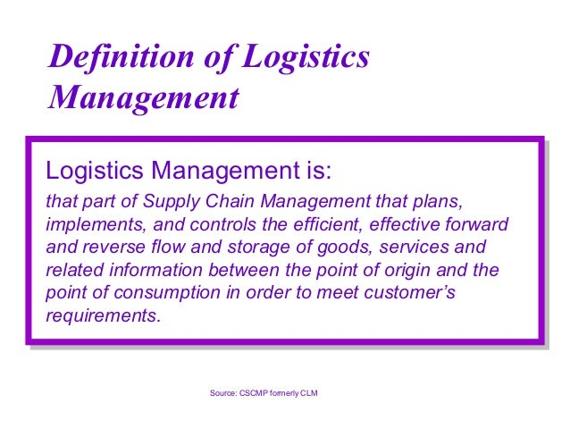 definition of logistics and supply chain management pdf