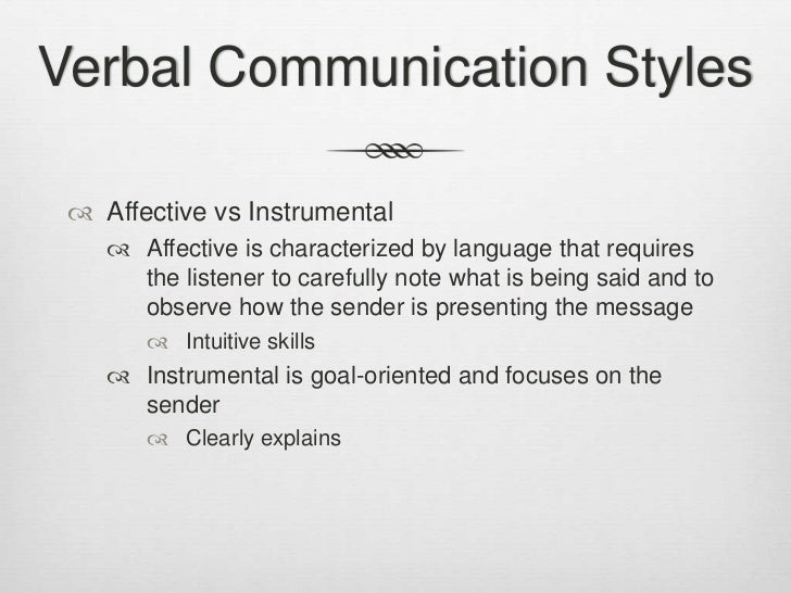 Verbal inputs in communication