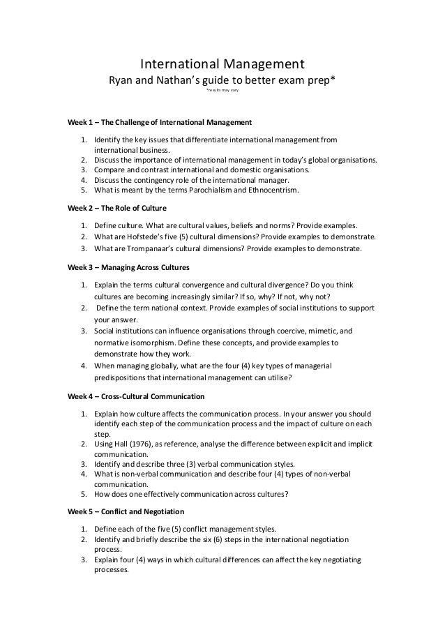 International management Revision Questions