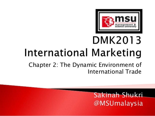 Chapter 2: The Dynamic Environment of International Trade  Sakinah Shukri @MSUmalaysia