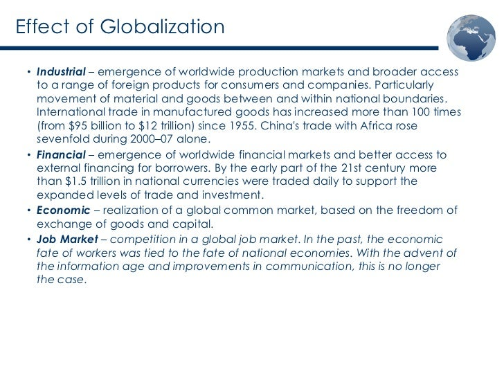 positive and negative effects of globalization on economy