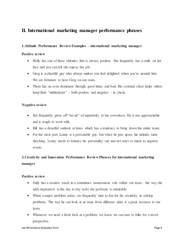 International marketing manager perfomance appraisal 2 – International Marketing Manager