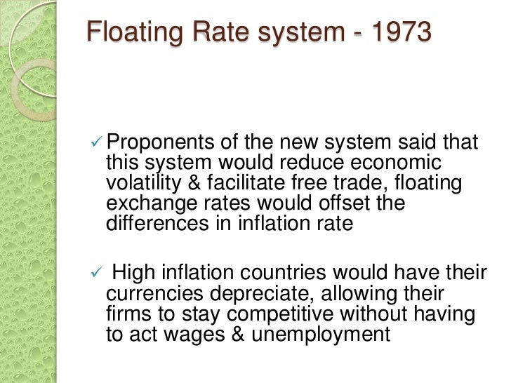the floating exchange rate system in the united kingdom